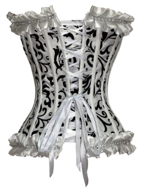 Corset-blanc-avec-motif-floral-vintage-noir-avec-froufrou miniature 3
