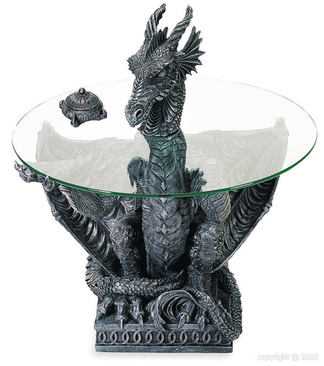 Table Basse Ronde Portee Par Un Dragon 77cm Reference Deco0080