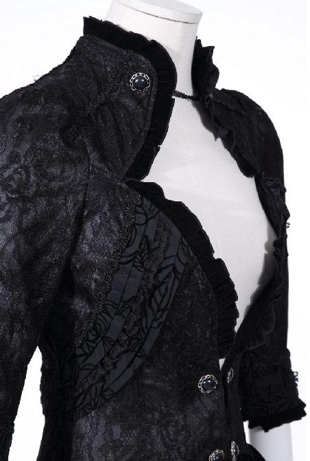 veste noire d collet avec d coration victorienne gothique rq bl japan attitude rqbl0006. Black Bedroom Furniture Sets. Home Design Ideas
