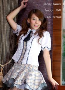 9e801eb479cf0f écolière chemise blanche, jupes volantes beige écossaise Référence :  VETKAW005