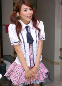 3f1f14ff42cc19 écolière chemise blanche avec bande rose écossaise jupes volante SKU :  VETKAW006