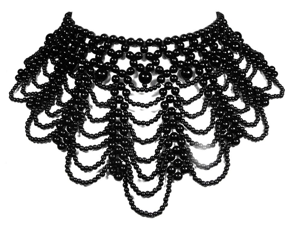 collier ras de cou perles noires
