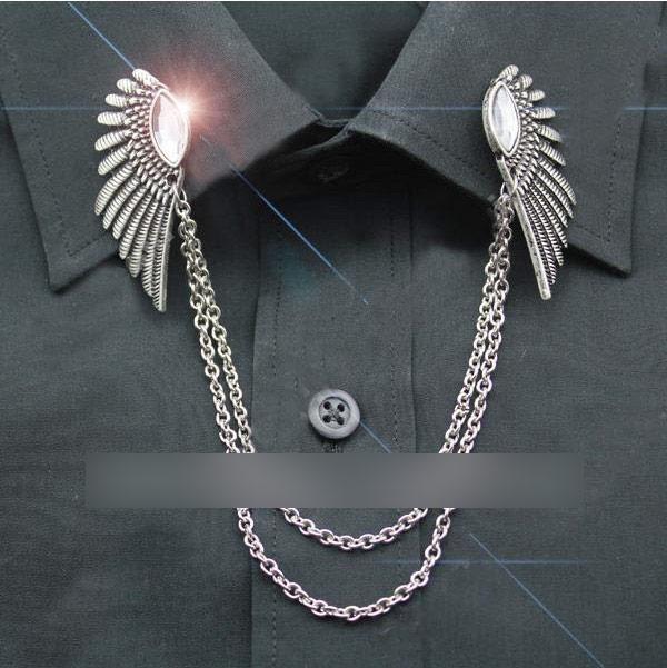 deux gt; col chaînettes et JAPAN couleur avec argent Broche ailes PR6w16q