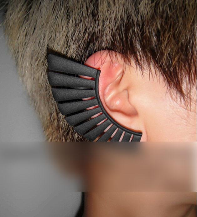 bijou d 39 oreille en forme d 39 ventail demi lune couleur noire boucle d 39 oreille ear cuf japan. Black Bedroom Furniture Sets. Home Design Ideas
