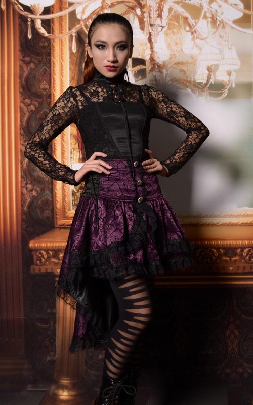 82e5d83701430a Jupe violette asymétrique avec motif et boutons en forme de rose avec  dentelle Référence : VETJUP137