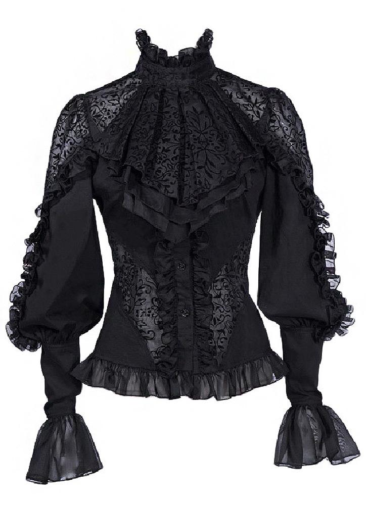 Avec bl Tissu Rq Chemise Gothique Motif À Noire Transparent Jabot Floral qCxHwRx75