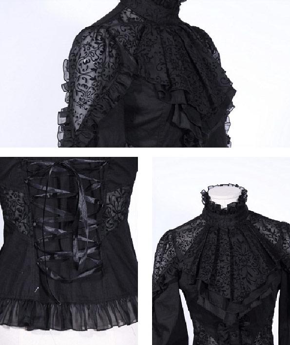 Noire Floral Gothique Rq Tissu À Avec bl Transparent Chemise Jabot Motif fnHPdqfwT7