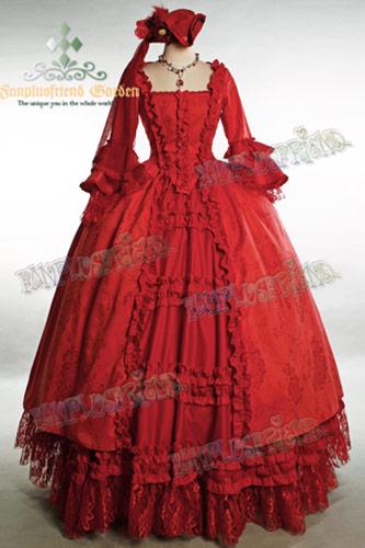 Longue Robe De Bal Rouge Victorienne Rococo 224 233 Tages