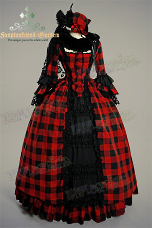 Victorian Rococo Lolita Jacquard red Square Neckline Ball Dress ...