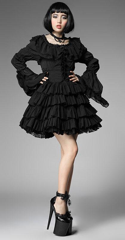 970f47dfa9b8 Robe noir sans manches avec volants gothique lolita punk rave lq-06 Pyon  Pyon 4 4 sur 8 ...