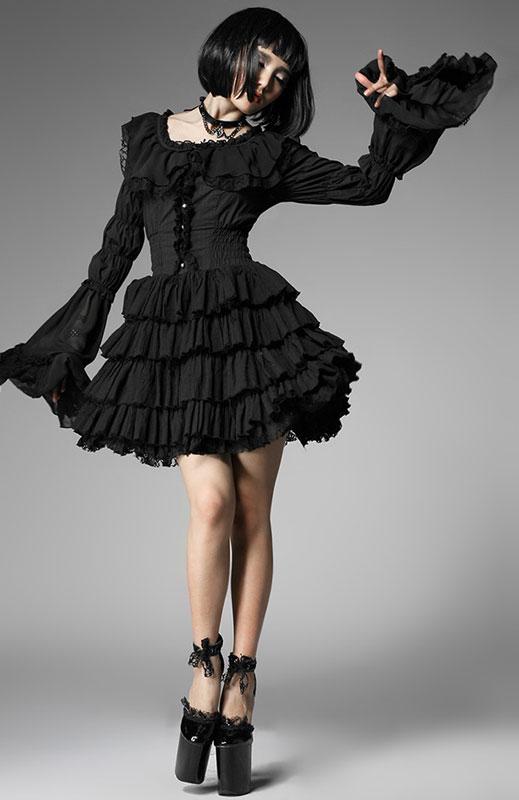 0c505908bb91 Robe noir sans manches avec volants gothique lolita punk rave lq-06 Pyon  Pyon 5 5 sur 8 ...