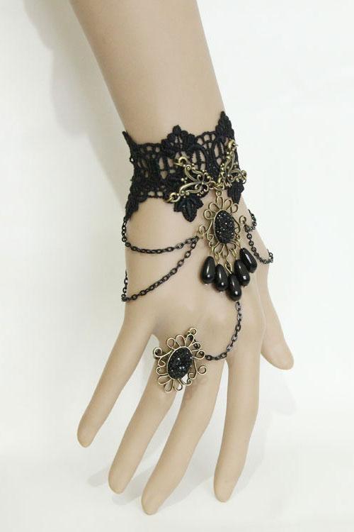 Et Bague Avec MédaillonChaîne RéférenceAccbra129 Bracelet Dentelle Noire En Gothique PkOTXiZu