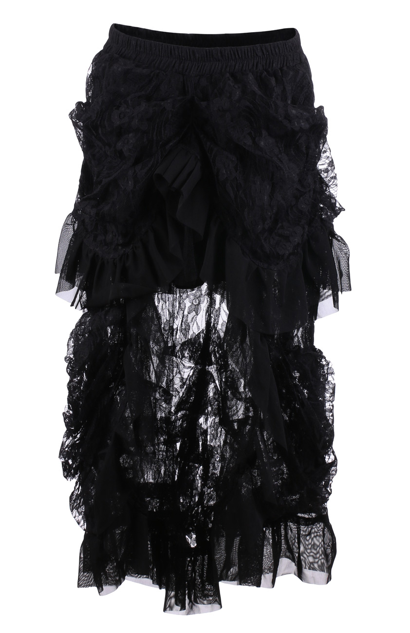 jupe noire gothique burlesque avec dentelle ouverte sur le. Black Bedroom Furniture Sets. Home Design Ideas