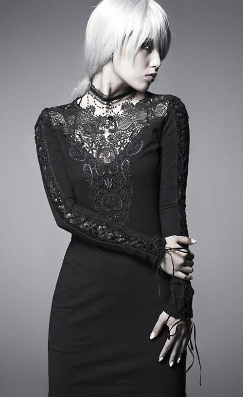 11c442b870c6 Robe noire gothique sobre avec broderies dentelle Punk Rave Q-210. Cliquer  pour agrandir