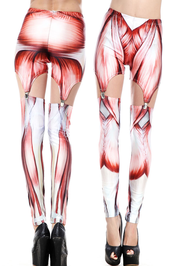 Leggings White Muscle Effet And Garter Japan Attitude Accleg054