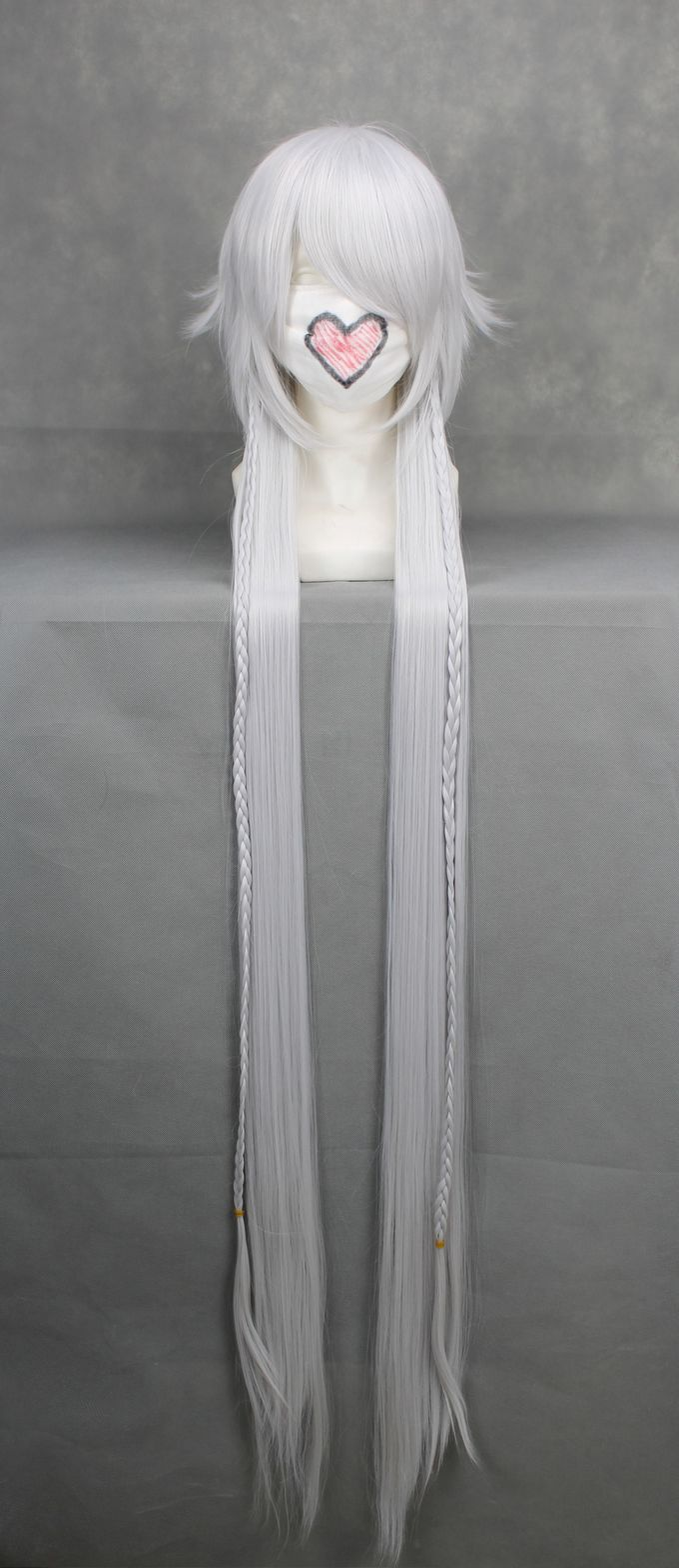 Perruque longue grise blanche 135cm, cosplay