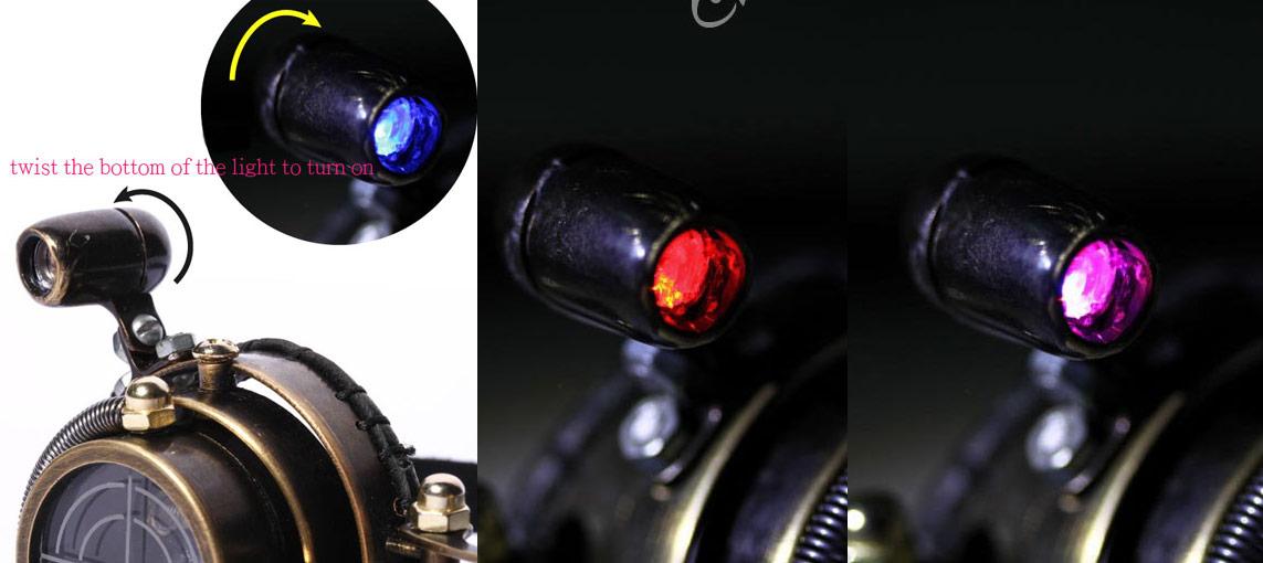 5ee9b0c63b34e Lunettes goggles steampunk noire lentille viseur avec lumière LED ...