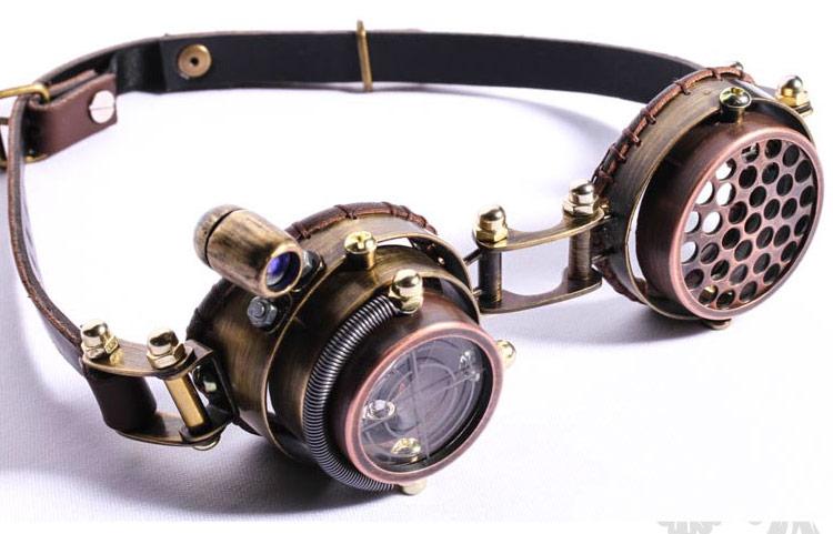 4afc352737240 Lunettes goggles steampunk marron lentille viseur avec lumière LED ...