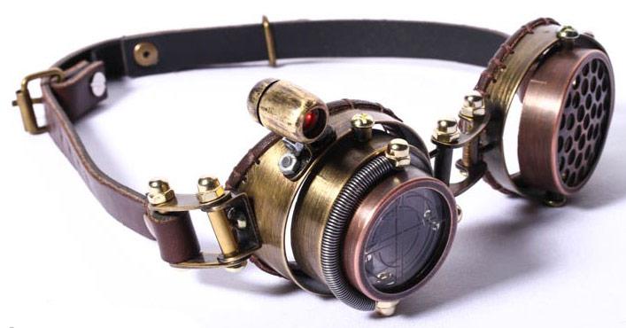 b03776225daf46 Lunettes goggles steampunk marron lentille viseur avec lumière LED ...