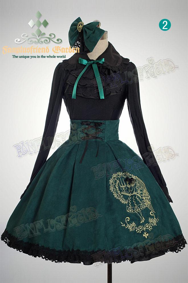 f7d59c8e1a7005 Jupe noire lolita taille haute avec baleines en métales, broderie Alice  Référence : VETJUP145