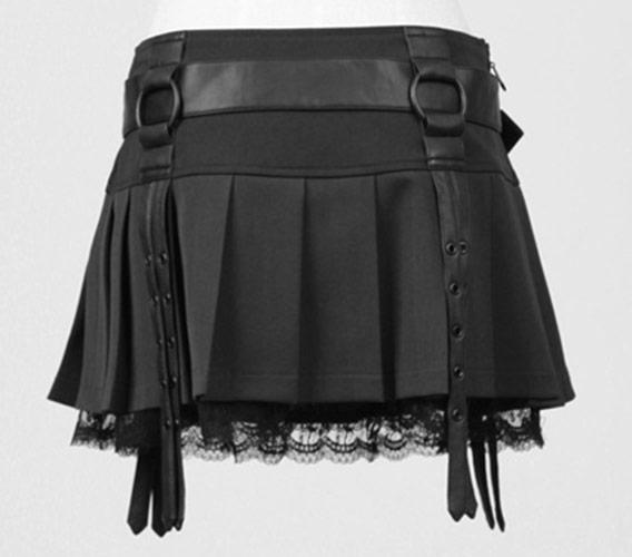 jupe noire plissures et sangle rock gothique punk rave q 220 japan attitude vetjup146. Black Bedroom Furniture Sets. Home Design Ideas
