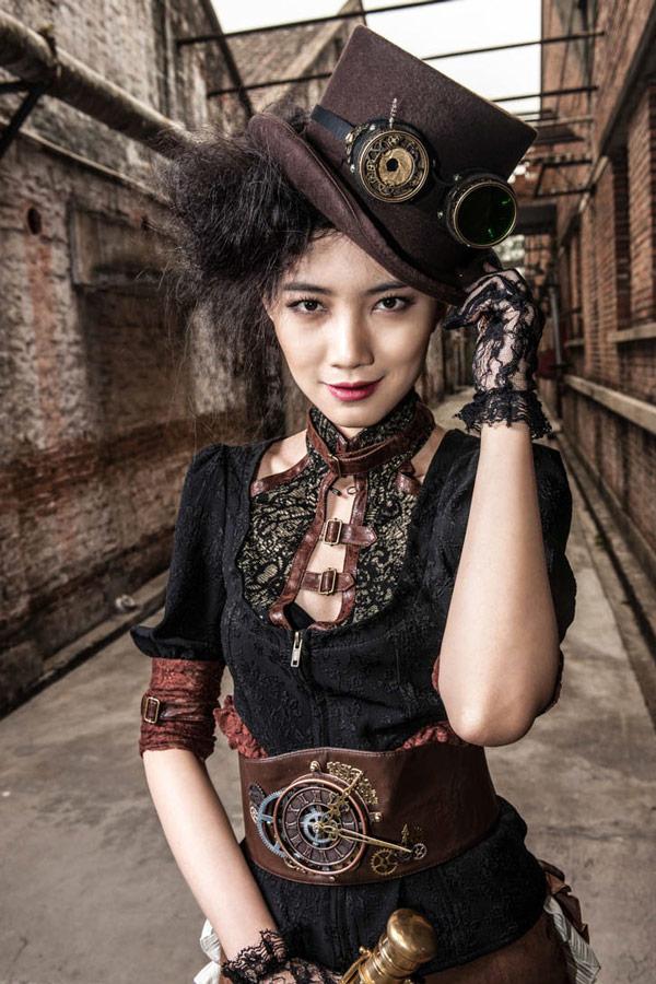 Chemise noire avec bordure marron et d collet en dentelle top steampunk rqbl japan attitude - Steampunk style vestimentaire ...
