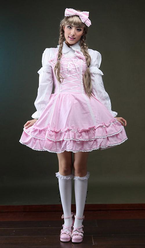 Robe Jsk Rose Avec Lacage Et Chemise Blanche Gothique Lolita Kawaii Avec Serre Tete Japan Attitude Glp0107