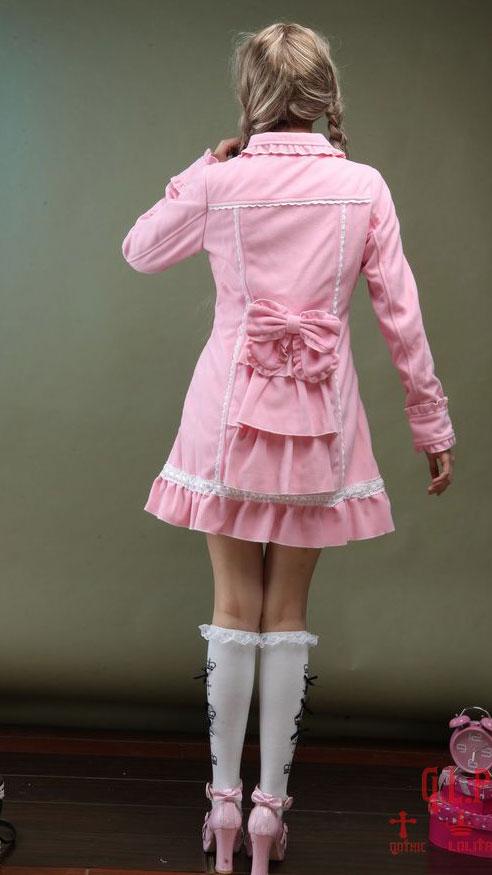 Noeuds Gothique Dentelle Manteau Avec Blanche Lolita Rose Poches HZ78wEBq