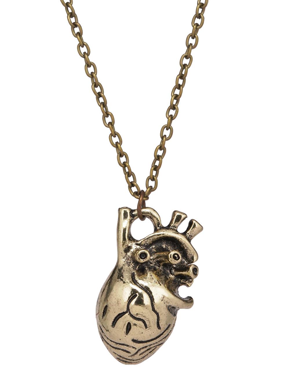 Coeur Steampunk collier pendentif coeur steampunk couleur dorée > japan attitude