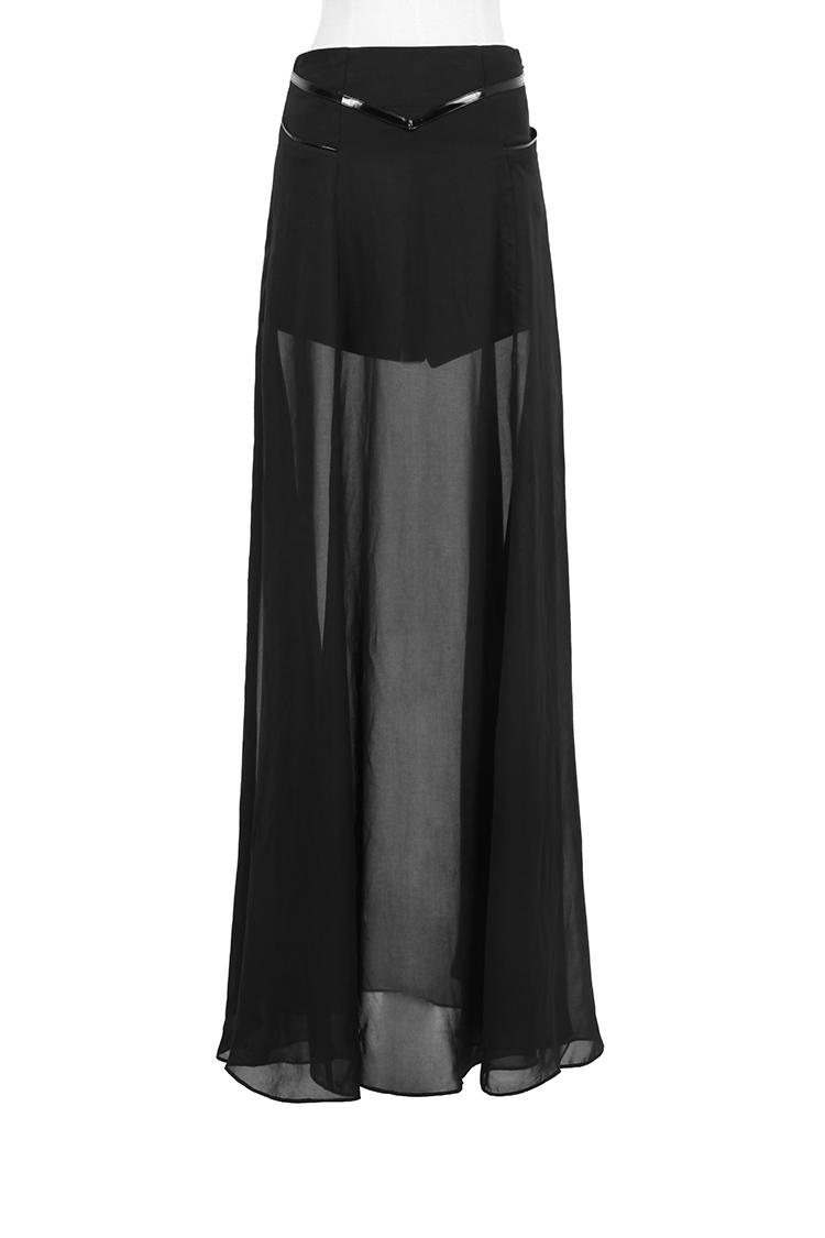 Longue jupe à voile semi transparent et dessus opaque gothique fashion Punk  Rave d0d5b6131aa