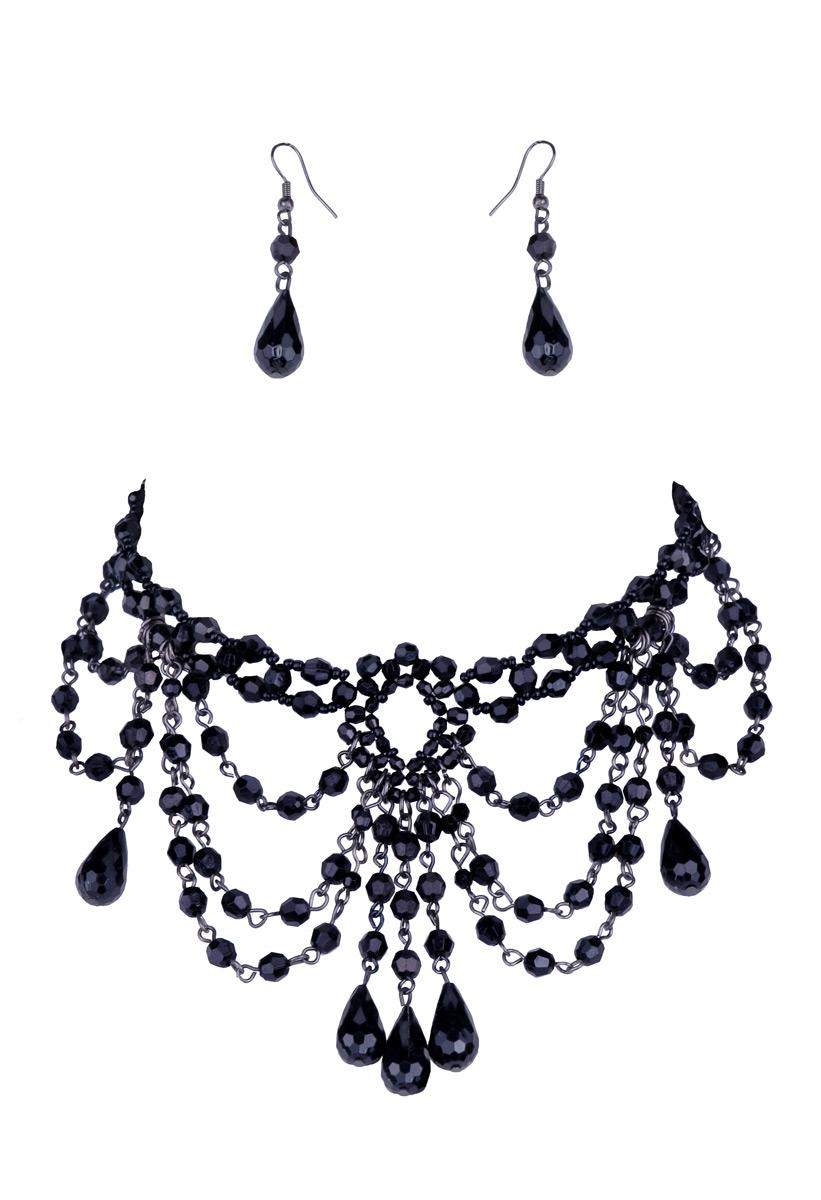 ras de cou collier de perles noires et ses boucles d u0026 39 oreilles  u0026gt  japan attitude